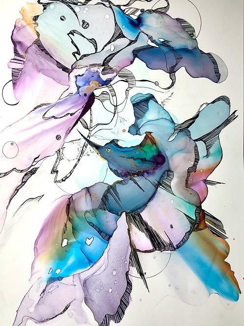 Картина «Колибри», 35 х 50 см, алкогольные чернила