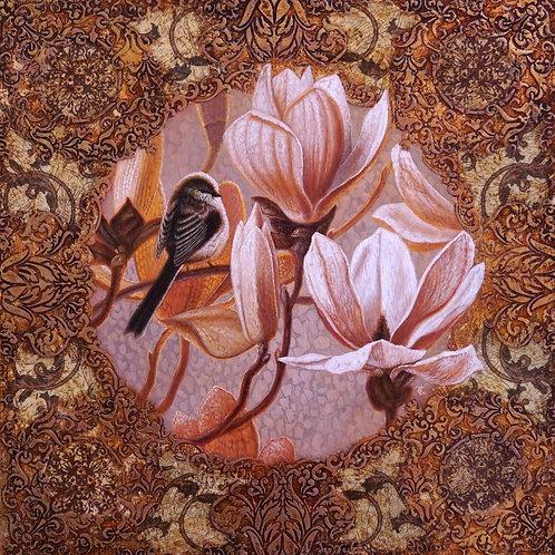 "Картина ""Магнолии и птичка"", 40 х 40 см, смешанная техника"