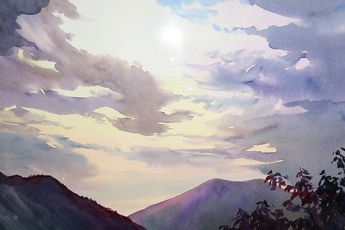 Картина «Закат», 35.5 х 54 см, бумага, акварель