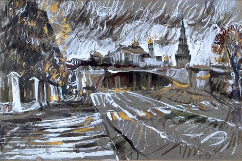 "Картина ""Кремль в октябре"", 45 х 30 см., бумага, тушь, гуашь"