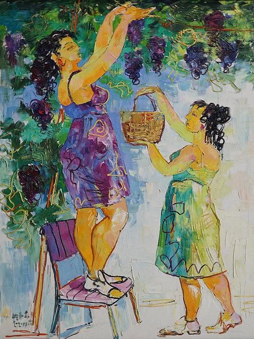 """Картина """"Девушки собирающие виноград"""", 80 х 60 см, холст, масло"""