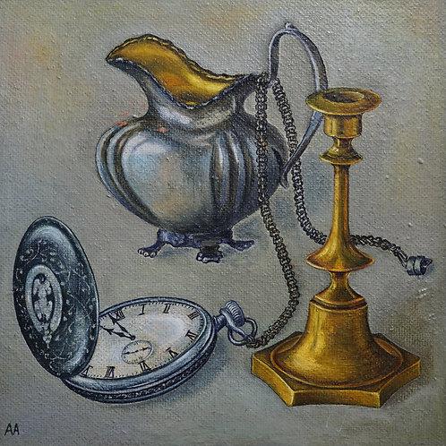 """Картина """"Натюрморт с часами"""", 30 х 30 см., холст, масло"""