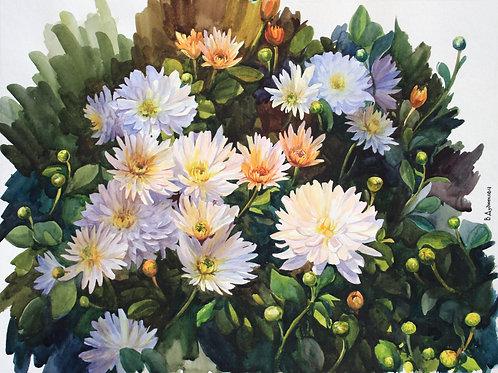 Картина «Хризантемы», 45 х 60 см, бумага, акварель