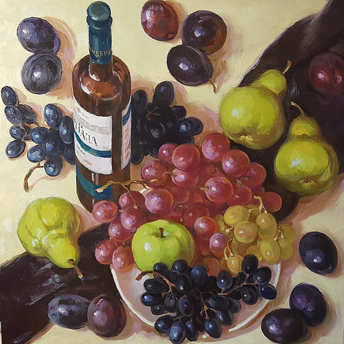"Картина ""Натюрморт с вином"" 60 х 60 см. Подрамник 3D. Холст, масло"