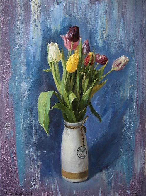 "Картина ""Тюльпаны"", 70 х 50см, холст, масло."