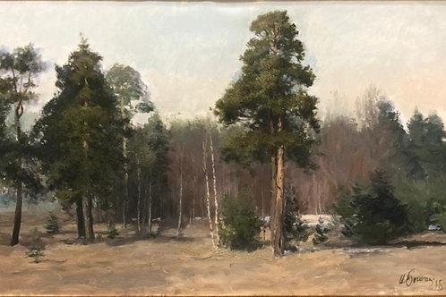 """Картина """"У края леса. Весна"""", 59 х 93 см, холст, масло"""