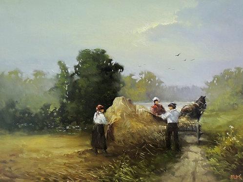 "Картина ""Сено собрано"", 30х 40 см, холст, масло"