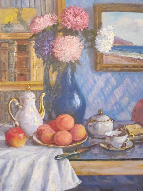 "Картина ""Астры и персики"", 90 х 50 см, холст, масло"
