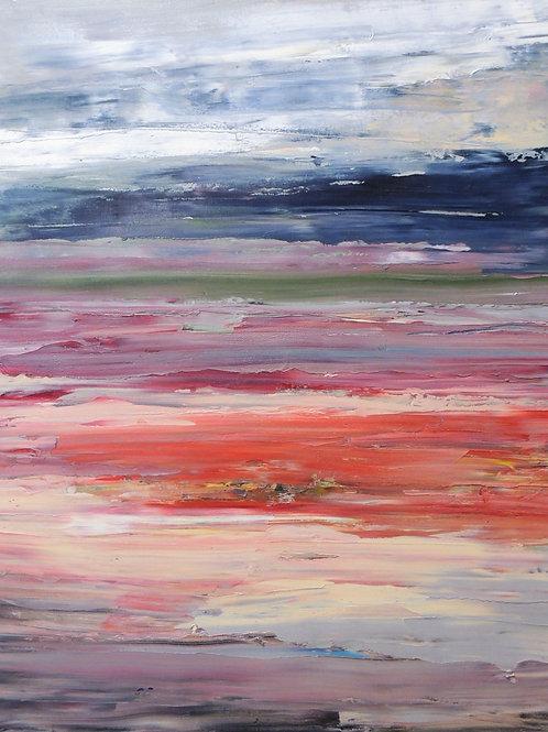 "Картина ""Закат на море"", холст, масло, 60 х70"