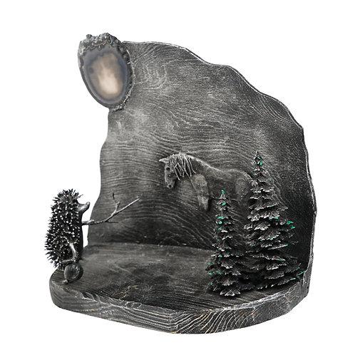 """Скульптура """"Ёжик в тумане"""", 26 х 30 см., дерево, проволока, акрил"""