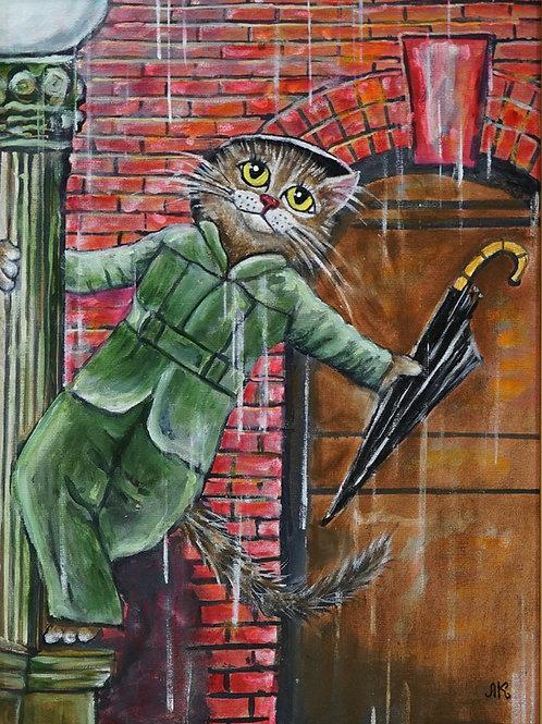 """Картина """"Под дождем"""", 40х30, холст, масло"""