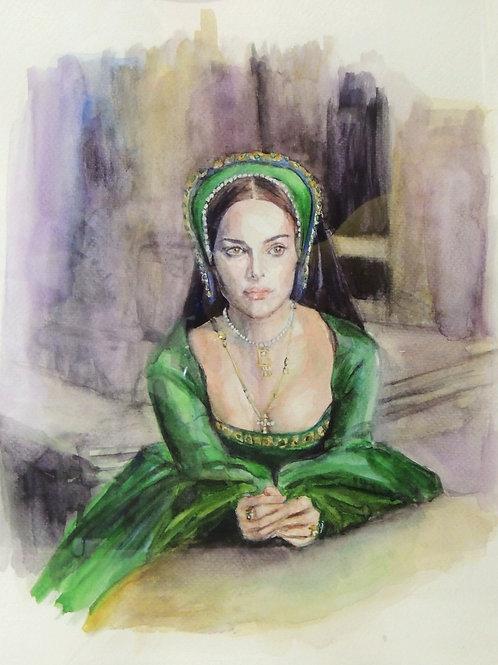 """Картина """"Анна Болейн"""", бумага, акварель, 33 х 44"""