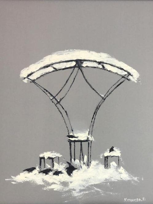 "Картина ""Зимние посиделки"", 50 х 40 см, холст, масло"