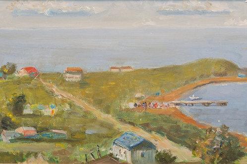 """Картина """"Приморский поселок"""",  24 х 70 см, холст, масло"""