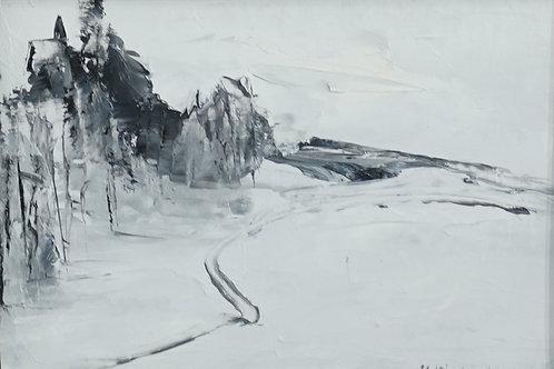 """Картина """"Теплая зима"""", 17 х 12 см, картон, масло"""