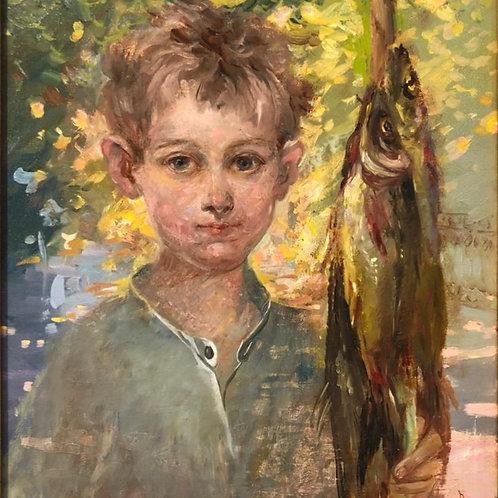 """Картина """"Рыбачок """", 40 х 35 см, холст, масло"""