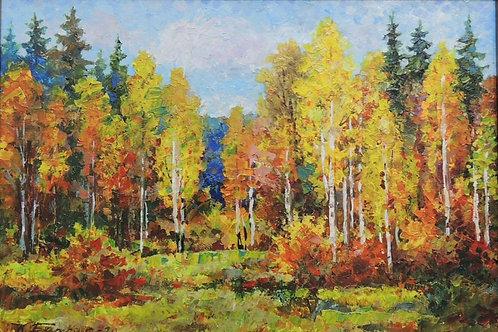 "Картина ""Золотая осень"", 21 х 30 см, картон, масло"