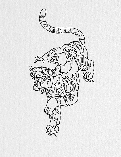 Frog riding a tiger tattoo