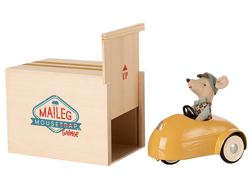 Maileg Mouse Yellow Car and Garage