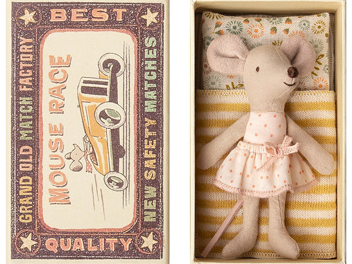Maileg Mouse Little Sister in matchbox bed NEW