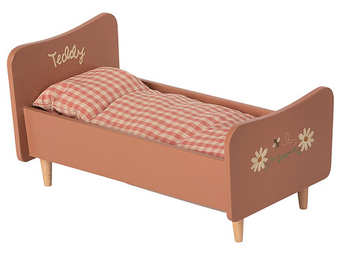 Maileg  Wooden Bed - Rose - Teddy Mum