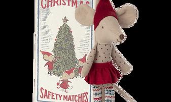 Maileg Christmas mouse big sister standing.png