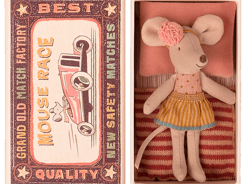 Maileg Mouse Little Sister in matchbox bed