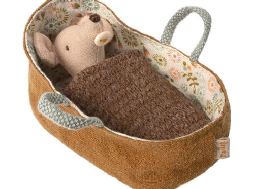 Maileg baby mouse in brown carrycot