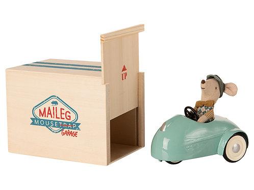 Maileg Blue car garage side view