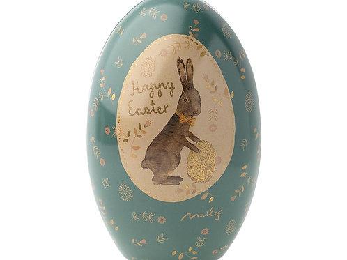 Maileg Easter Egg tin - blue / gold