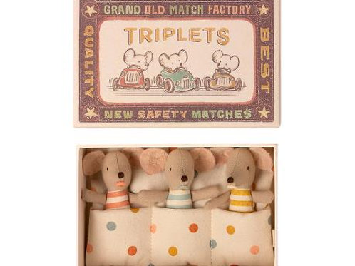 Maileg Baby Triplet Mice in a matchbox