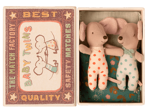 Maileg Mice Baby Twins in a matchbox bed