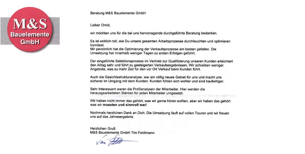 Referenz M & S Bauelemente GmbH