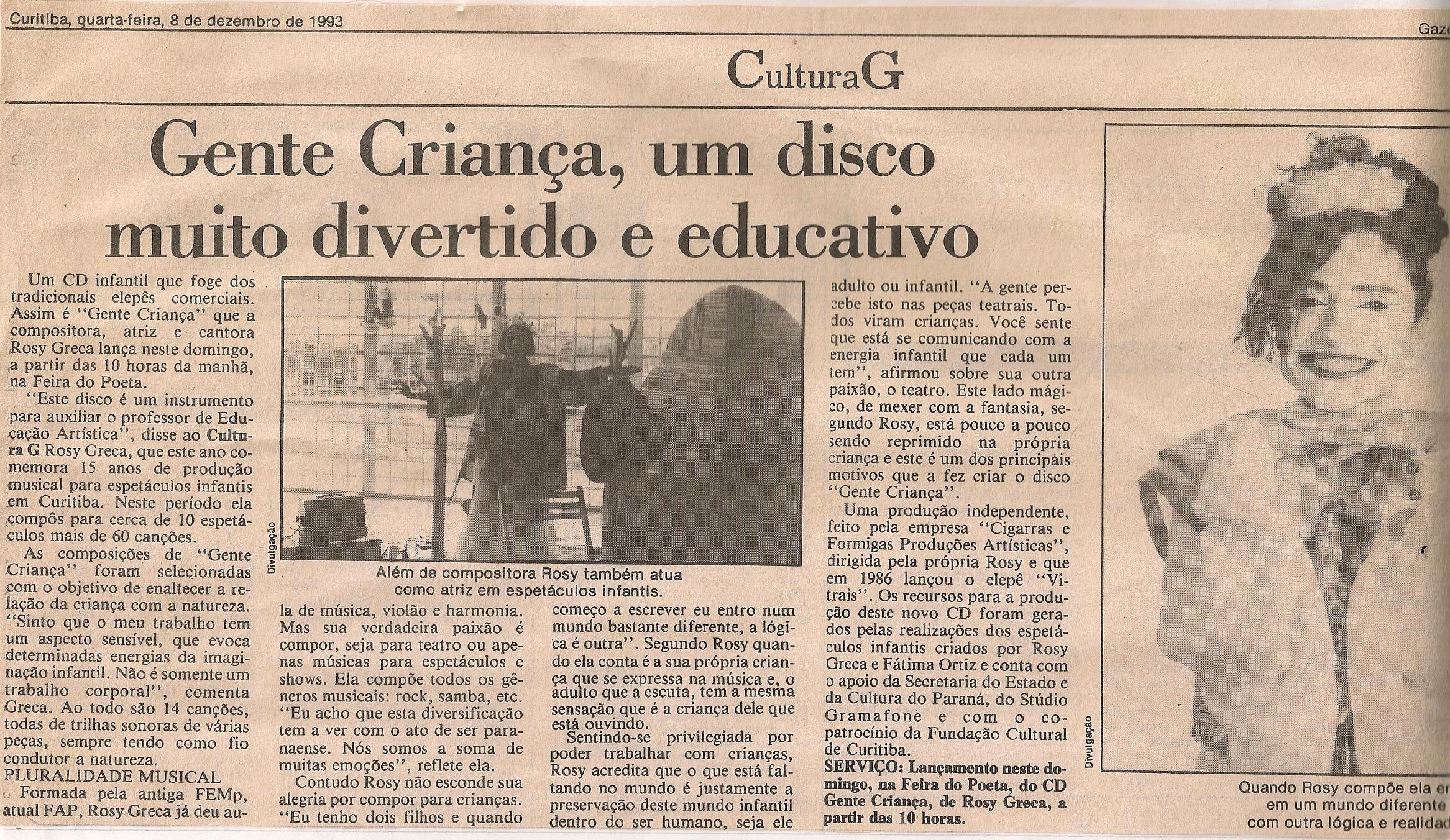 Gente Criança, um disco muito divertido e educativo, Gazeta do Povo, 1993