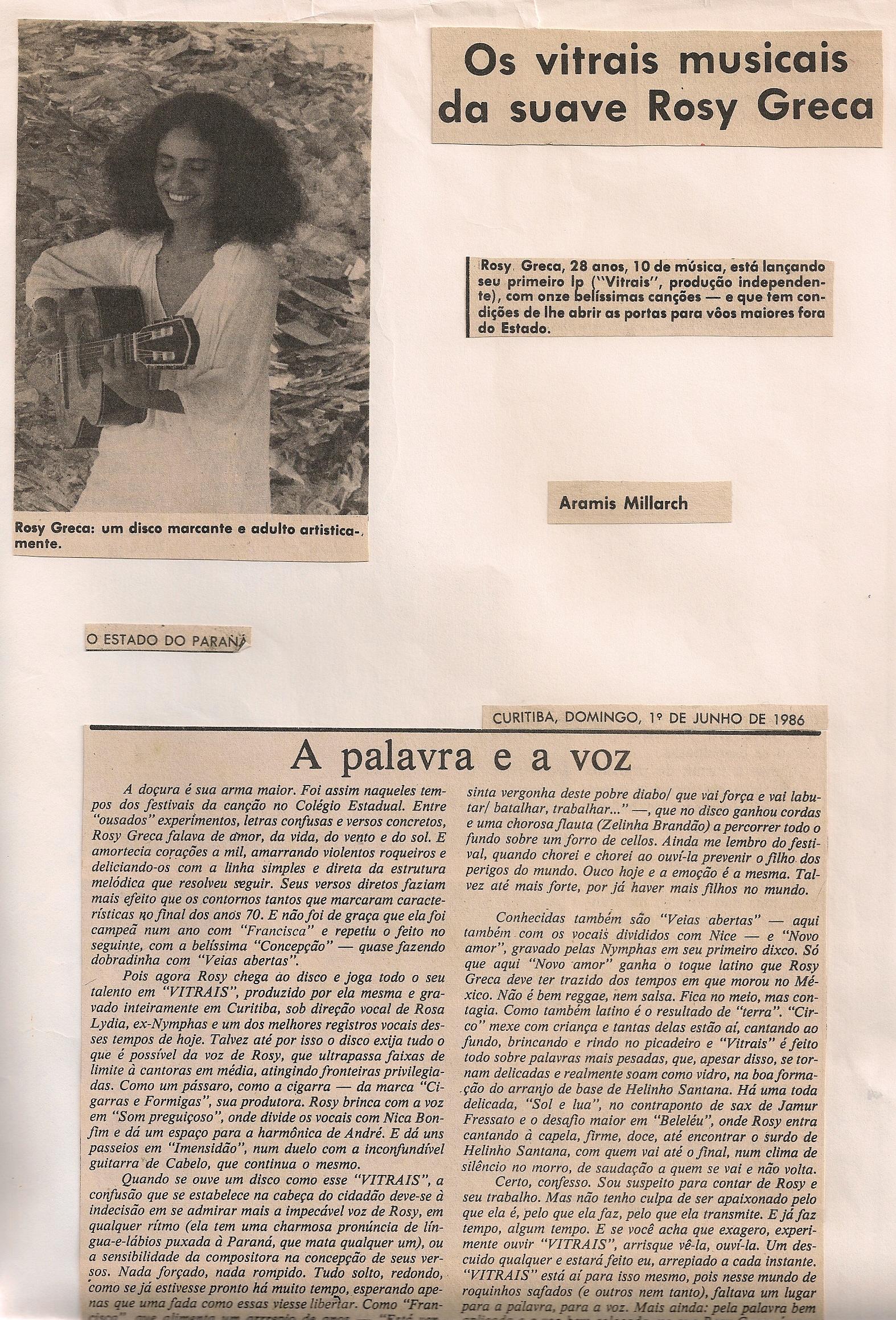 Os vitrais musicais da suave Rosy Greca, O Estado do Paraná, 1986