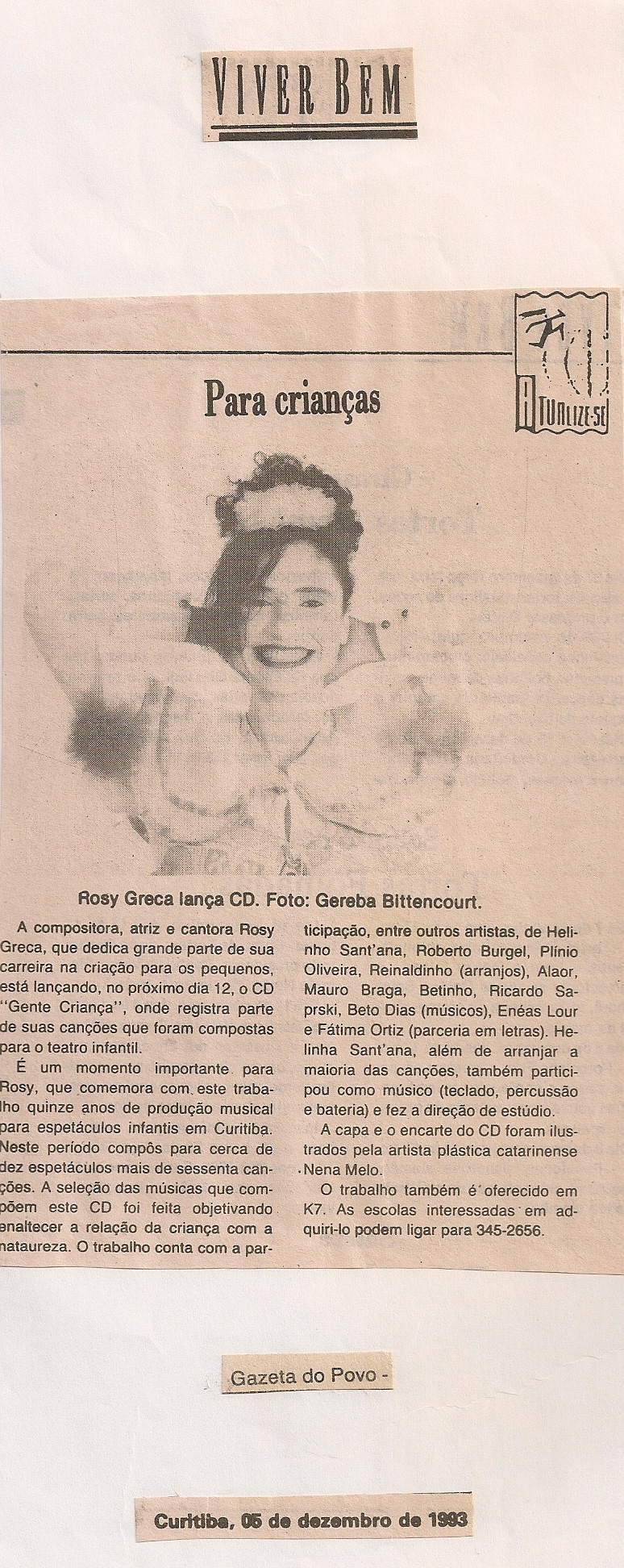 Rosy Greca lança CD, Gazeta do Povo, 1993