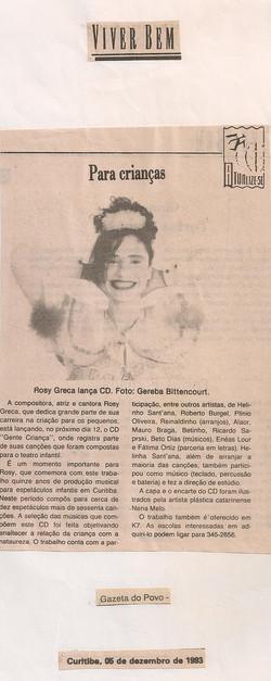 Rosy Greca lança CD, Gazeta do Povo, 1993
