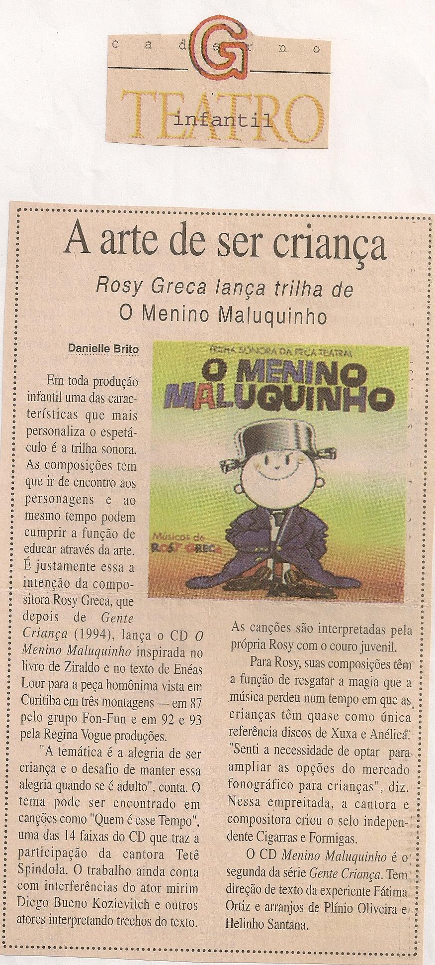 Rosy Greca lança trilha de O Menino Maluquinho