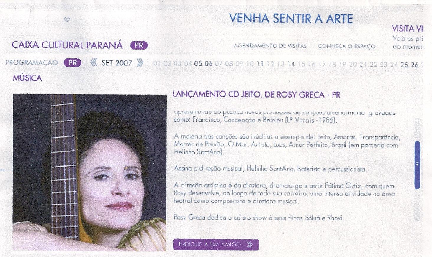 Lançamento CD Jeito, Caixa Cultural Paraná