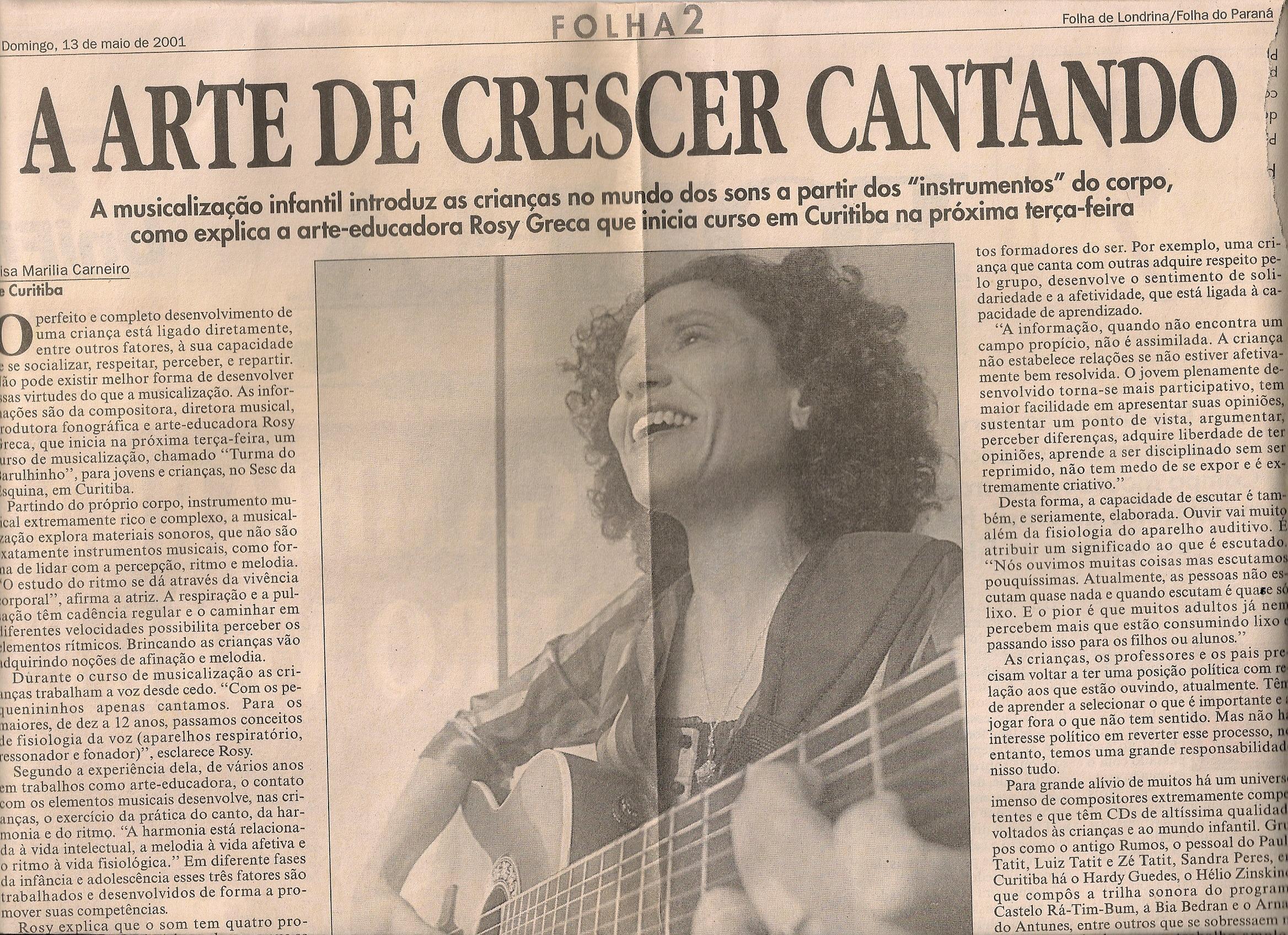 A arte de crescer cantando, Folha de Londrina / Folha do Paraná