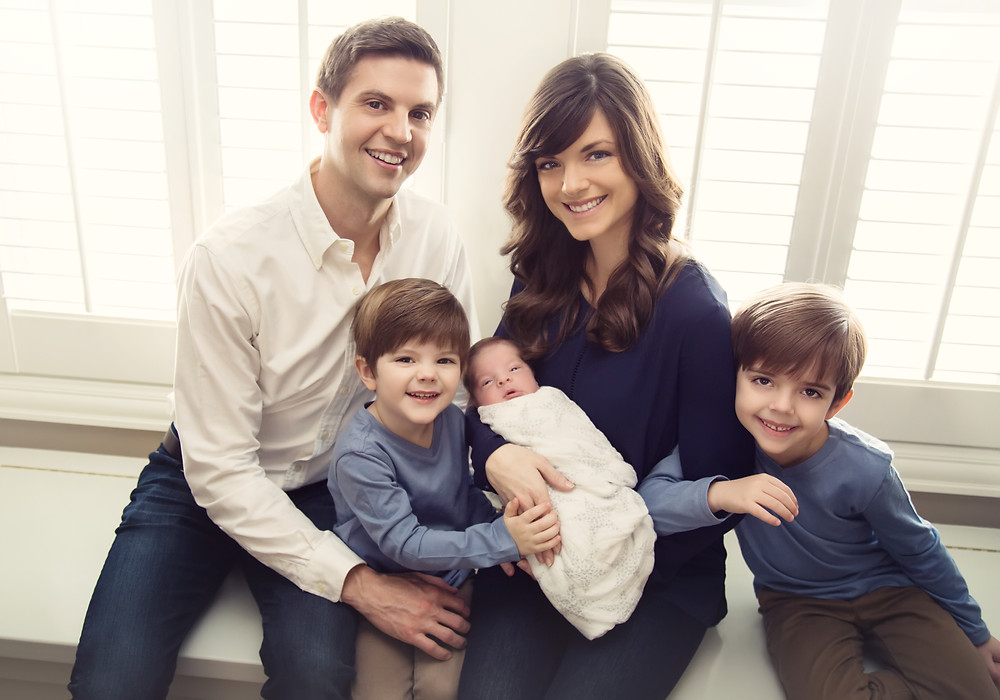 Newborn Family Photo, 3 boys