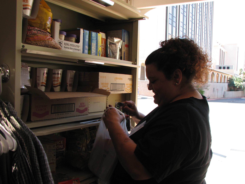 Preparing bags of canned food