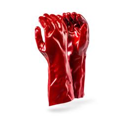 Red PVC Open Cuff Glove