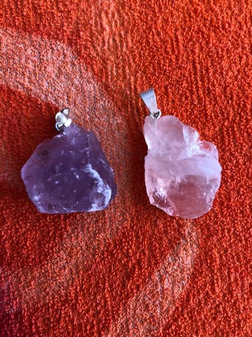 Crystal Pendants Silver rough