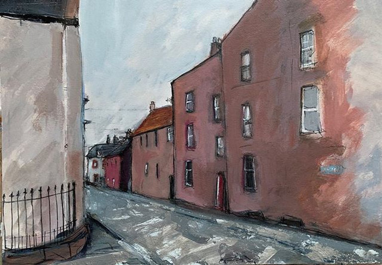 Silver Street, Dunbar _Mixed media on bo