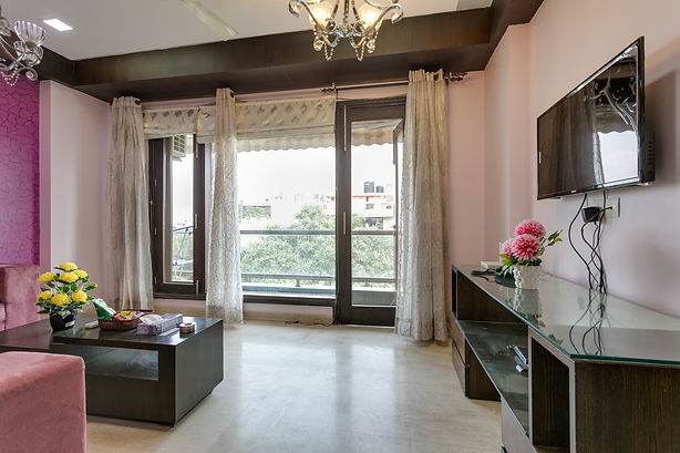 Elegantly Furnished Living Room Of 3 BHK Apartment CR Park