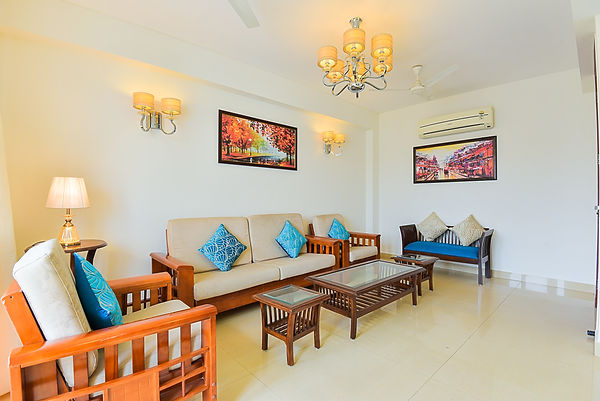 Tastefully Furnished Living Room Of 3BHK Service Apartment