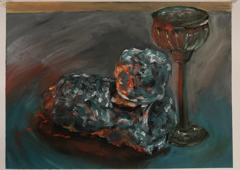 metallic object study with studio lighting