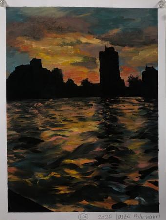 sunset landscape study of Boston