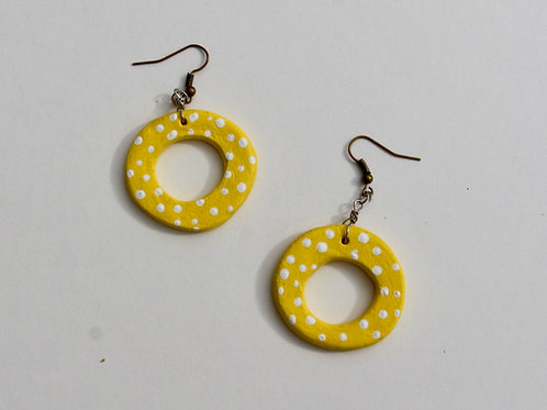 yellowpolkadot earring